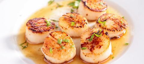 Seafood - доставка морепродуктов, морских деликатесов и рыбы в Обнинске, Москве: Рецепт: жареные Морские Гребешки